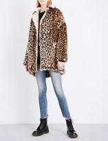 R 13 Leopard faux-fur coat