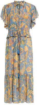 Vanessa Bruno Nausica Ruffled Gathered Printed Crepe Midi Dress