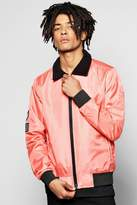 Boohoo Badged Harrington Jacket With Borg Collar