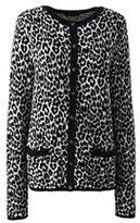 Lands' End Women's Petite Classic Supima Pocket Cardigan Sweater-Vintage Birch Heather Fairisle