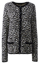 Lands' End Women's Tall Classic Supima Pocket Cardigan Sweater-Black Leopard