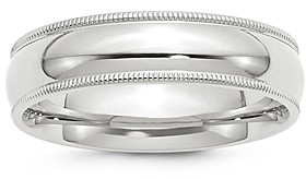 Bloomingdale's Men's 6mm Milgrain Comfort Fit Band in 14K White Gold - 100% Exclusive