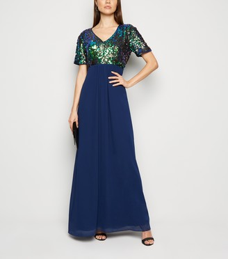 New Look Mela Sequin Chiffon Maxi Dress