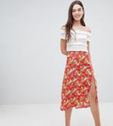 Miss Selfridge Floral Side Button Midi Skirt