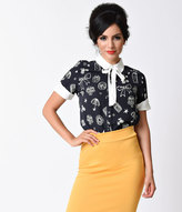 Moon Collection 1940s Style Navy & White Bow Stencil Print Short Sleeve Blouse
