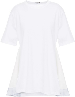 Clu Ruffled Cotton-jersey And Striped Poplin T-shirt