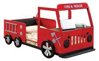 Hokku Designs Fire Engine Twin Car Bed with Shelves