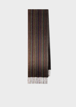 Paul Smith Men's Muted 'Signature Stripe' Cashmere Scarf