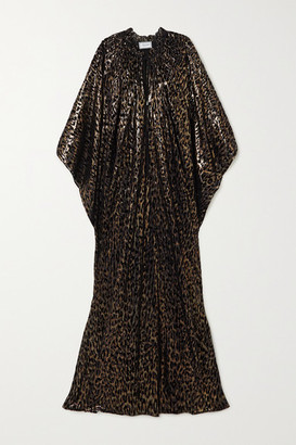 Redemption Metallic Flocked Silk-blend Chiffon Kaftan - Black