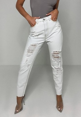 Missguided Blue Highwaisted Ladder Distressed Jeans