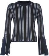 Jonathan Simkhai Fluted Sleeve Sweater, Navy, L