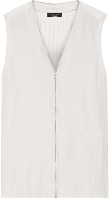 Rag & Bone Valerie Zip-detailed Twill And Pointelle-knit Top