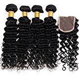 Vinsteen 8A Brazilian Hair Bundles with Closure 8-30 Double Weft Human Hair Extensions Dyeable Hair Weaves Deep Wave Wavy with 4X4 Lace Frontal Closure (30 30 30 30 &Closure 20)