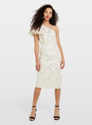 Miss Selfridge PETITE White Jacquard Midi Dress
