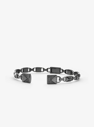 Michael Kors Black Rhodium-Plated Sterling Silver Pave Open Hinge Bangle