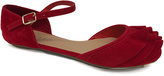 Bamboo Red Ankle Strap D'Orsay Flat