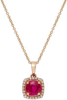 Effy Rosa by Ruby (1 ct. t.w.) and Diamond Accent Square Pendant in 14k Rose Gold
