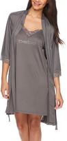 Bebe Women's Sleep Robes CHARCOAL - Charcoal Lace-Trim Chemise & Robe - Women & Plus