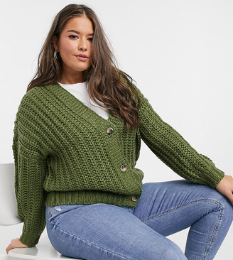 Noisy May Curve cable knit cardigan in khaki