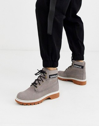 CAT Footwear CAT corduroy suede lace up boots in gray