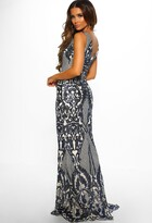 Pink Boutique Ballroom Beauty Nude and Navy Sequin Maxi Dress