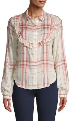Frame Plaid Ruffle Shirt