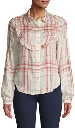Frame Plaid Ruffle Shirt