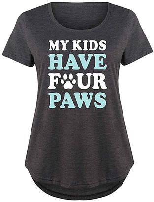 Instant Message Plus Women's Tee Shirts HEATHER - Heather Charcoal 'My Kids Have Four Paws' Scoop Neck Tee - Plus