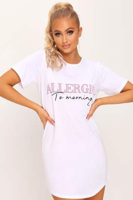 I SAW IT FIRST White Allergic To Mornings Nightie