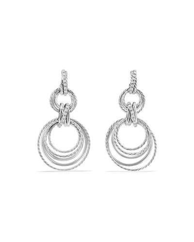 David Yurman Crossover Double-Hoop Drop Earrings with Diamonds