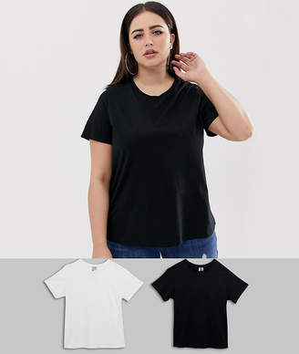 Asos DESIGN Curve ultimate t-shirt with crew neck in 2 pack SAVE-Multi