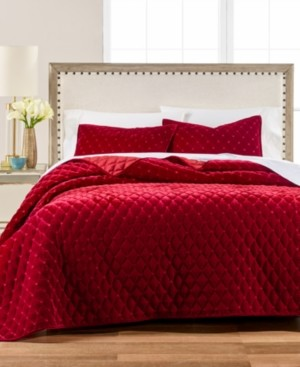 Martha Stewart Collection Diamond Tufted Velvet Twin/Twin Xl Quilt, Created for Macy's