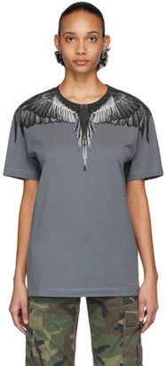 Marcelo Burlon County of Milan Grey and Black Wings T-Shirt