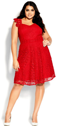 City Chic Dainty Lace Dress - lipstick