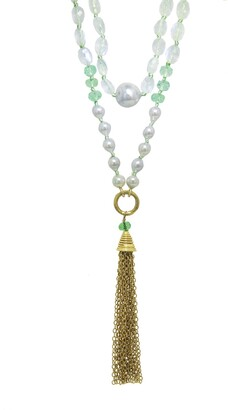Cathy Waterman Emerald Moonstone and Pearl Tassel Yellow Gold Necklace