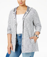 Style&Co. Style & Co. Plus Size Striped Hooded Sweater, Only at Macy's