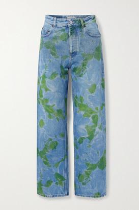 Balenciaga Floral-print High-rise Straight-leg Jeans - Blue
