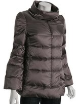silver quilted sateen down jacket