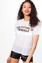 boohoo Daisy Future Is Female Slogan Tee white