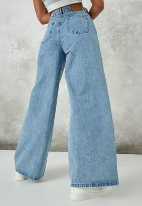 Missguided Pleated Waistband Wide Leg Jeans
