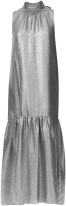 Tibi Metallic Lame Drop-Waist Dress