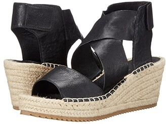 Eileen Fisher Willow (Black Tumbled Leather) Women's Wedge Shoes