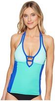 Nautica Shades of the Sea Color Block Halter Tankini Top Women's Swimwear