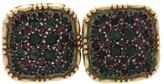 Buccellati 18K Yellow Gold Ruby & Emerald Square Stud Earrings