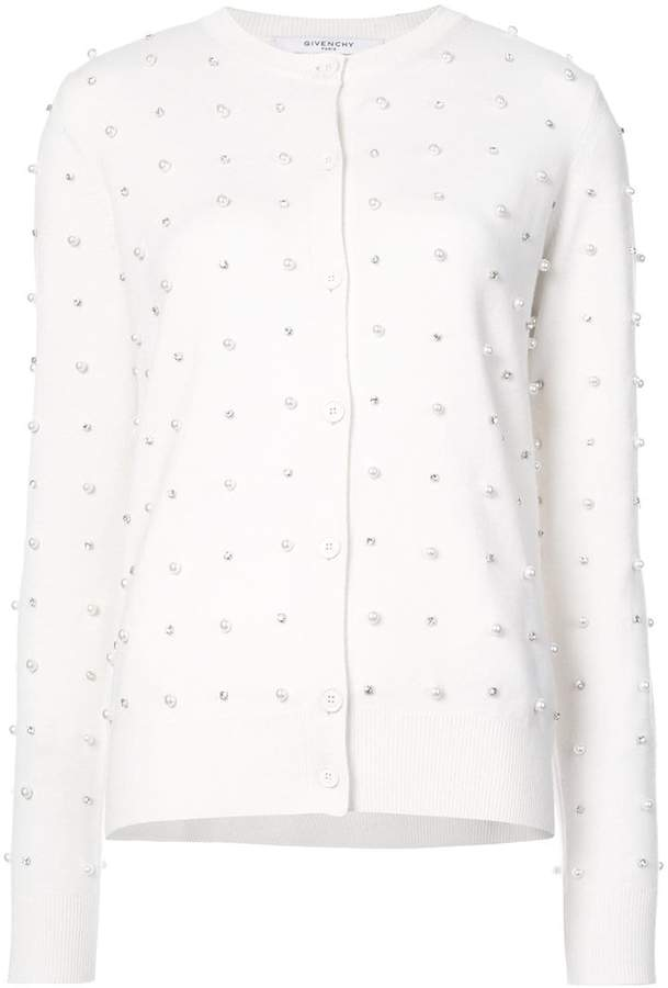 Givenchy faux pearl and crystal embellished cardigan