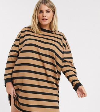 Asos DESIGN Curve oversized t-shirt dress in camel and black stripe