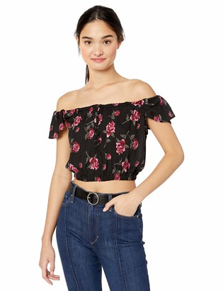 Angie Women's Button Front On/Off Shoulder Crop Top