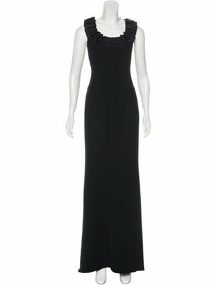 Oscar de la Renta Sleeveless Wool Gown Black