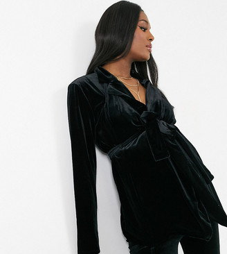 ASOS DESIGN Maternity jersey wrap suit blazer in black velvet