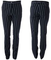 Gabicci Mens Navy Tailored Striped Patterned Pants Trousers Size 32R-40L
